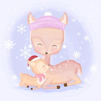 かわいい赤ちゃん鹿と母の手描き