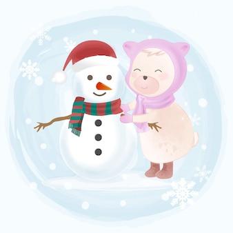 かわいいクマと雪だるまの手描きイラスト