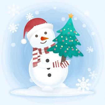 Снеговик держит сосну рисованной иллюстрации