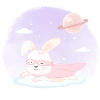 クラウドと土星の図のスーパーヒーローウサギ