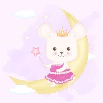 三日月に魔法の杖を保持しているかわいいマウス