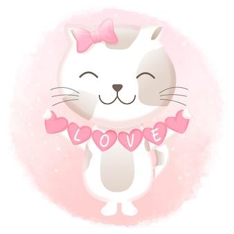 心を持ってかわいい猫手描きイラスト