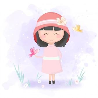 かわいい女の子と鳥の漫画イラスト