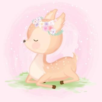 かわいい赤ちゃん鹿手描き動物イラスト