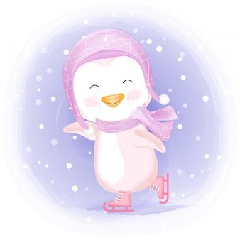 アイススケートをしている赤ちゃんペンギン手描きイラスト