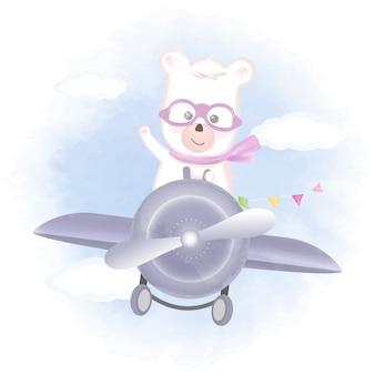 飛行機の手描き漫画イラストを飛んでいるかわいいクマ