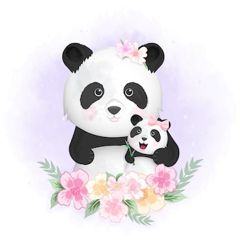 かわいい赤ちゃんパンダとママの手描きイラスト