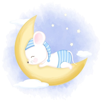 Милая мышонок спит на луне