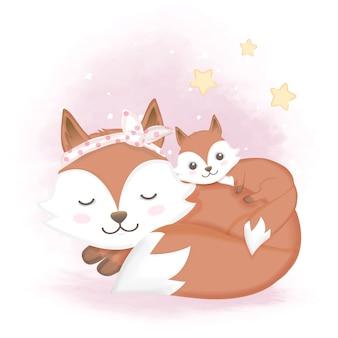 赤ちゃんキツネとママ寝ているイラスト