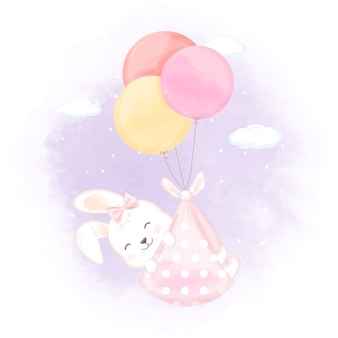 Милый кролик с шаром рисованной иллюстрации новорожденного