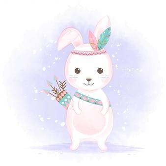 Милый племенной кролик с перьями