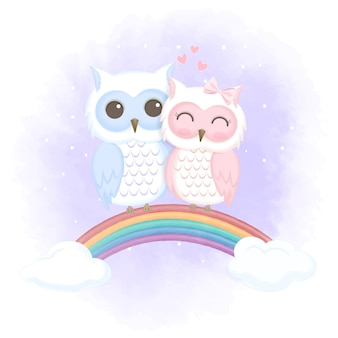 Милая пара сова на радуге