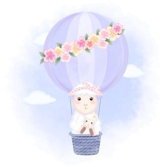 赤ちゃん羊とママが熱気球に浮かぶ手描き漫画イラスト