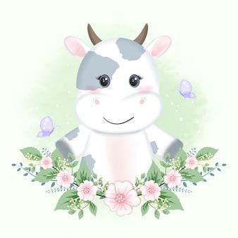かわいい赤ちゃん牛と蝶と花