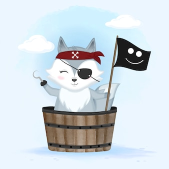 Симпатичная пиратская лиса в деревянном ведре рисованной иллюстрации