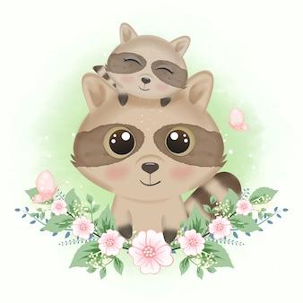 かわいいアライグマと蝶と花