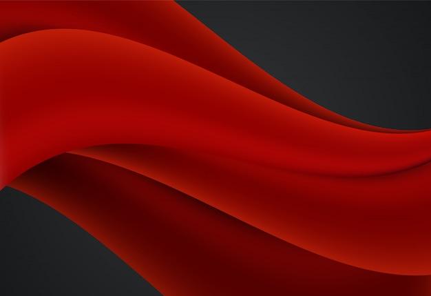 赤と黒の曲線と波状の背景