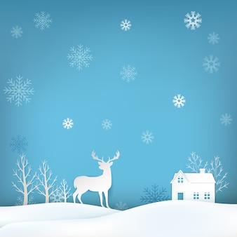 鹿とスノーフレーククリスマスシーズン