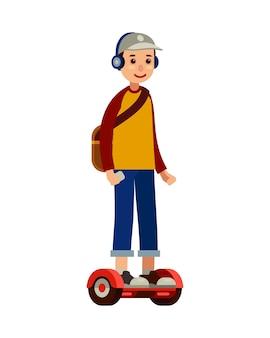 Молодой человек на самобалансирующейся скутере