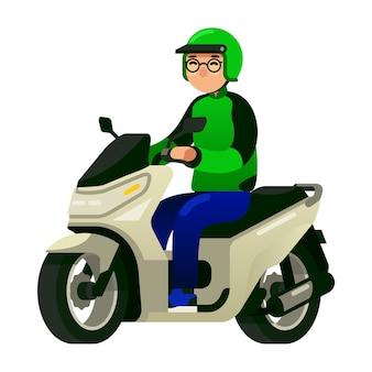 商用オートバイのタクシー運転手