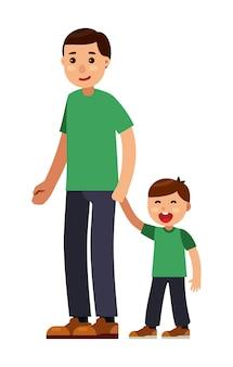 お父さんと一緒に歩く息子