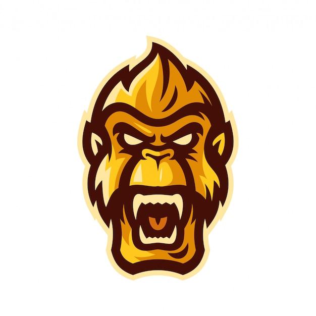Горилла киберспорт логотип талисман векторная иллюстрация