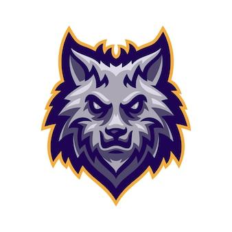 オオカミヘッドマスコットロゴベクトル