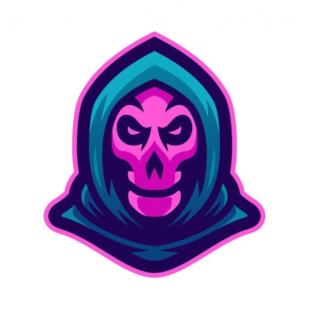 Мрачный жнец талисман логотип векторная иллюстрация