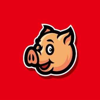 Свинья голова киберспорт логотип талисман векторная иллюстрация