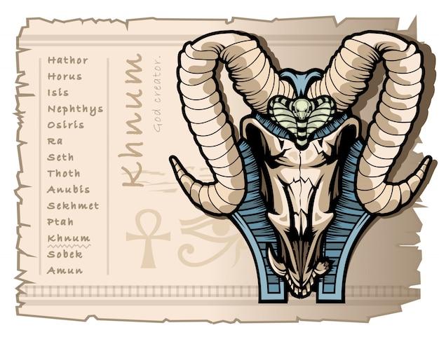 古代エジプトの世界のクナム神の創造者