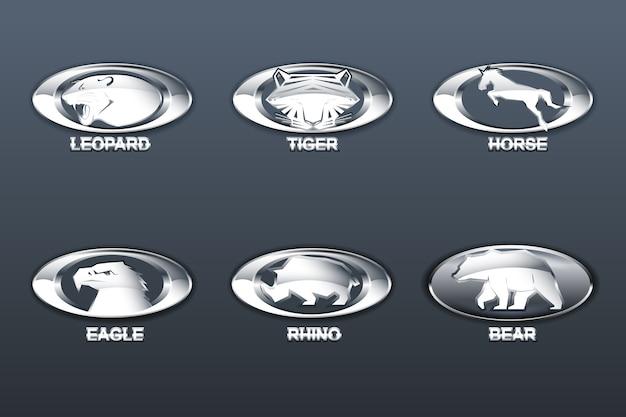 Логотипы, установленные с формой животных на овальной блестящей стальной форме