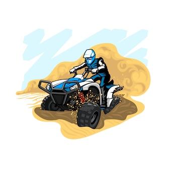 ほこりや砂のある砂漠のクワッドバイク