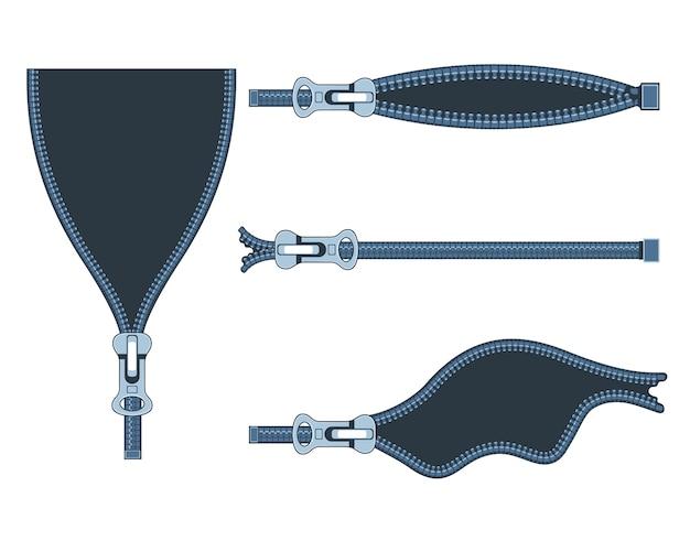 白い背景の異なる位置にプラスチックジッパーのセット。