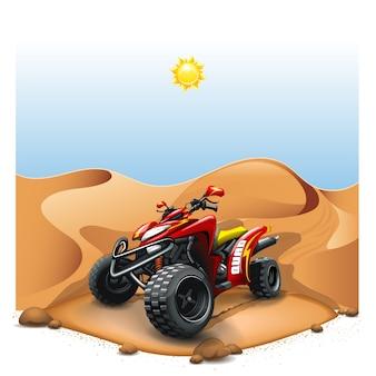 砂漠の丘のクワッドバイク。