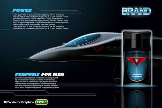 人のための香水は、航空機と黒の背景にテンプレートを印刷します。現実的なモックアップ