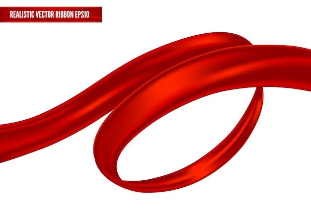 現実的な赤いリボンが渦巻きの姿勢で