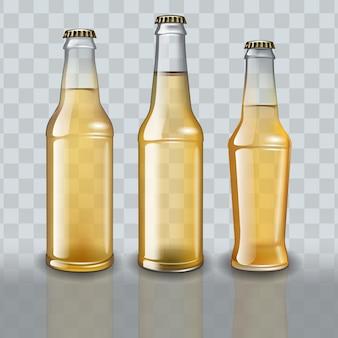 透明な背景にフルビールボトルのセット。