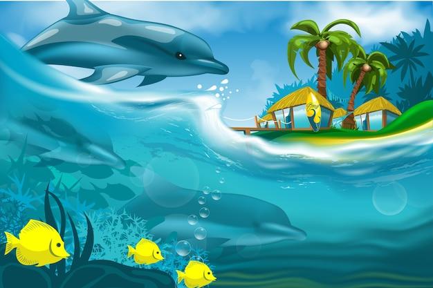 海に浮かぶイルカ