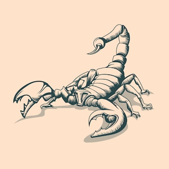 Винтажный рисунок скорпиона. стиль татуировки.