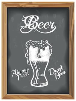 ビールグラスのビンテージチョークボード