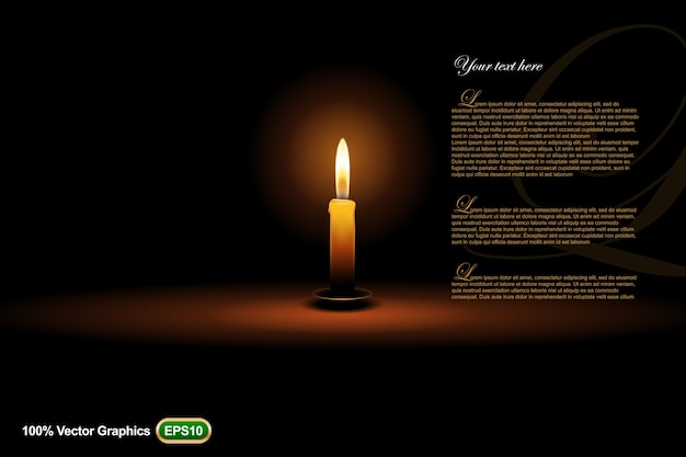 Шаблон объявления свечей макет, на темном фоне