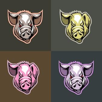 異なる色の豚の頭のセット