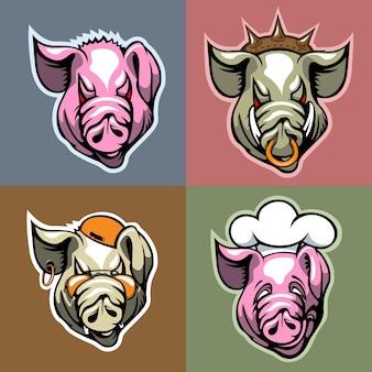異なる表情の豚の頭のセット。漫画スタイル