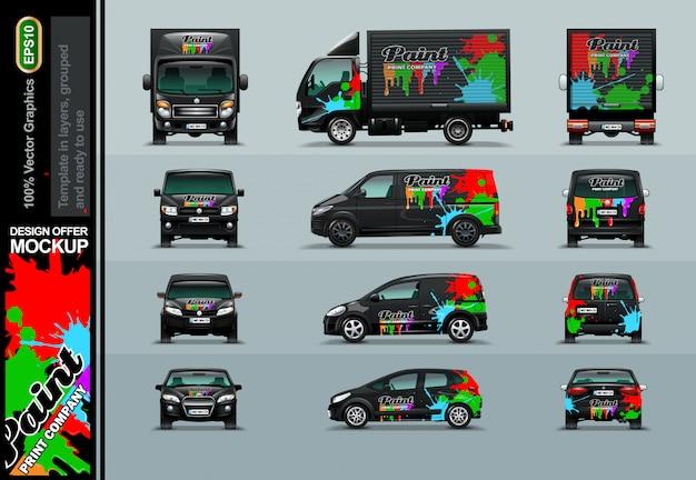 Печатная компания в абстрактной композиции. предложения макетов для вашего бизнеса.