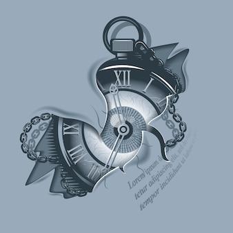 引き裂かれた肌のヴィンテージ時計