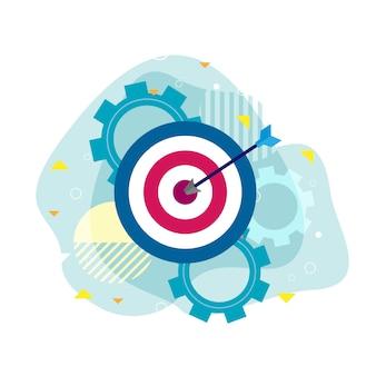 目標達成、コンセプトへのビジネスとアイコンの矢印