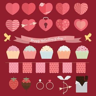 幸せなバレンタインデーのアイコンセットの図