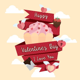 幸せなバレンタインデーのアイコンデザインの背景イラスト