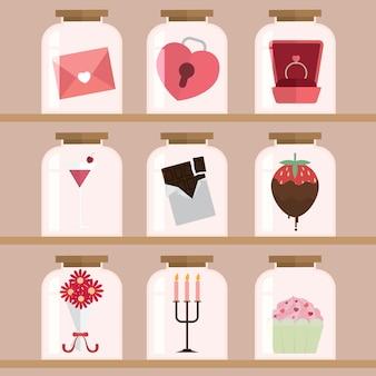 幸せなバレンタインデーデザインの背景イラスト