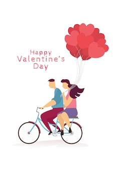 幸せなカップル素敵なバレンタインデーのお祭りで自転車とハートの風船に乗っています。